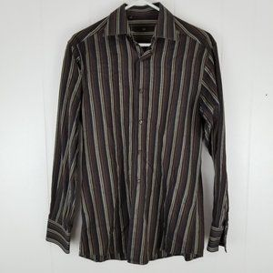 Zegna Black Tricolor Striped Button Up Long Sleeve